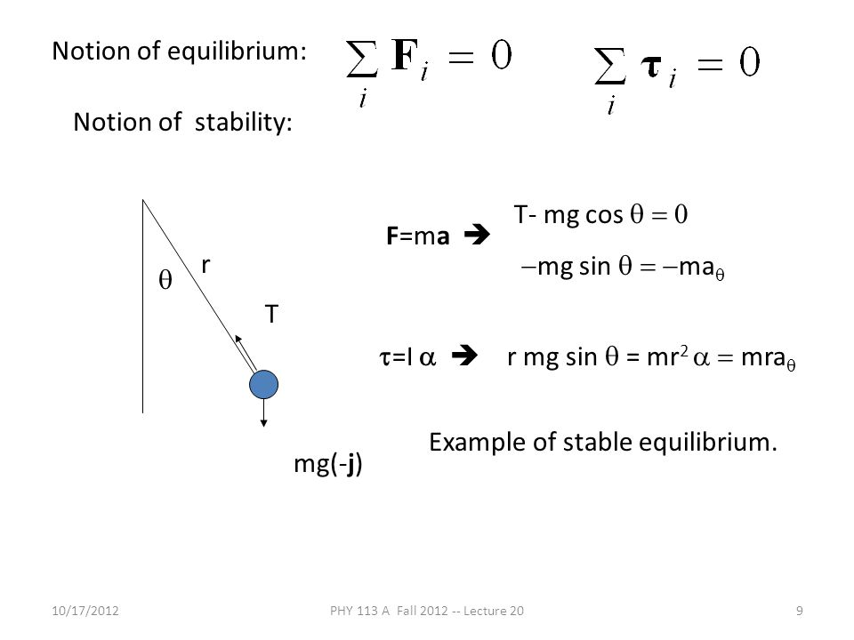 10/17/2012PHY 113 A Fall 2012 -- Lecture 209 Notion of stability: mg(-j) r T  F=ma  T- mg cos   mg sin  ma   =I   r mg sin  = mr 2  mra  Notion of equilibrium: Example of stable equilibrium.