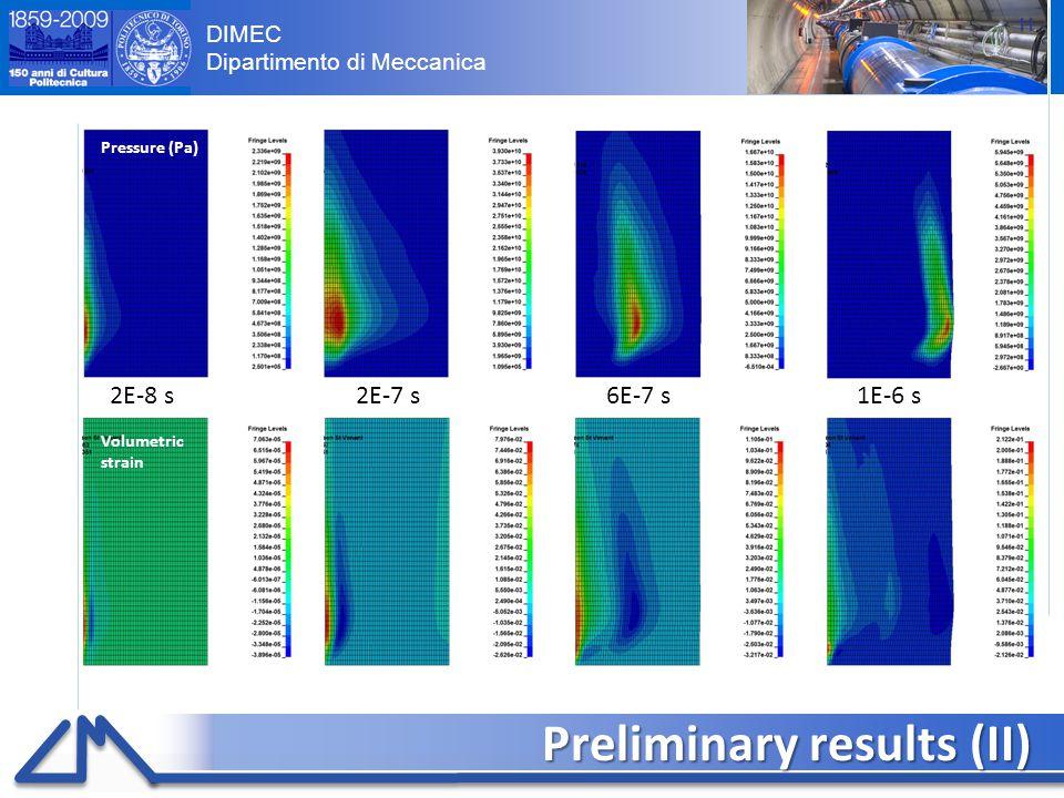 DIMEC Dipartimento di Meccanica Preliminary results (II) 11 Pressure (Pa) Volumetric strain 2E-8 s2E-7 s6E-7 s1E-6 s