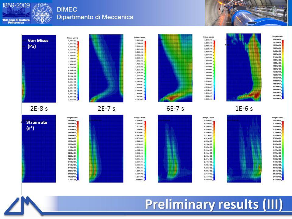 DIMEC Dipartimento di Meccanica Preliminary results (III) 12 Von Mises (Pa) Strainrate (s -1 ) 2E-8 s2E-7 s6E-7 s1E-6 s