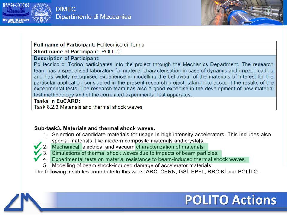 DIMEC Dipartimento di Meccanica Preliminar results (IV) 13 Elements deletion for high volumetric strain (low density) and low pressure Pressure  deletion