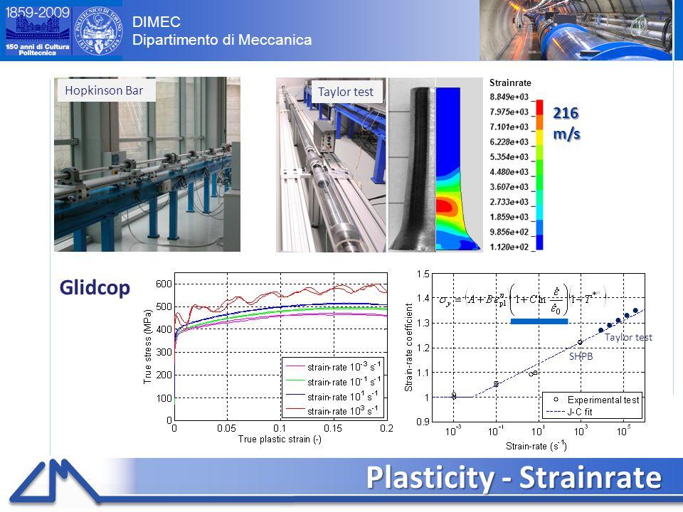 DIMEC Dipartimento di Meccanica Plasticity - Strainrate 7 Glidcop Hopkinson Bar Taylor test 216 m/s Strainrate Taylor test SHPB