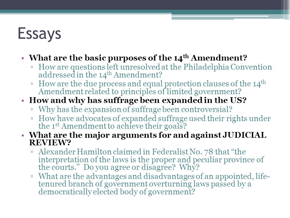 Essays What are the basic purposes of the 14 th Amendment.