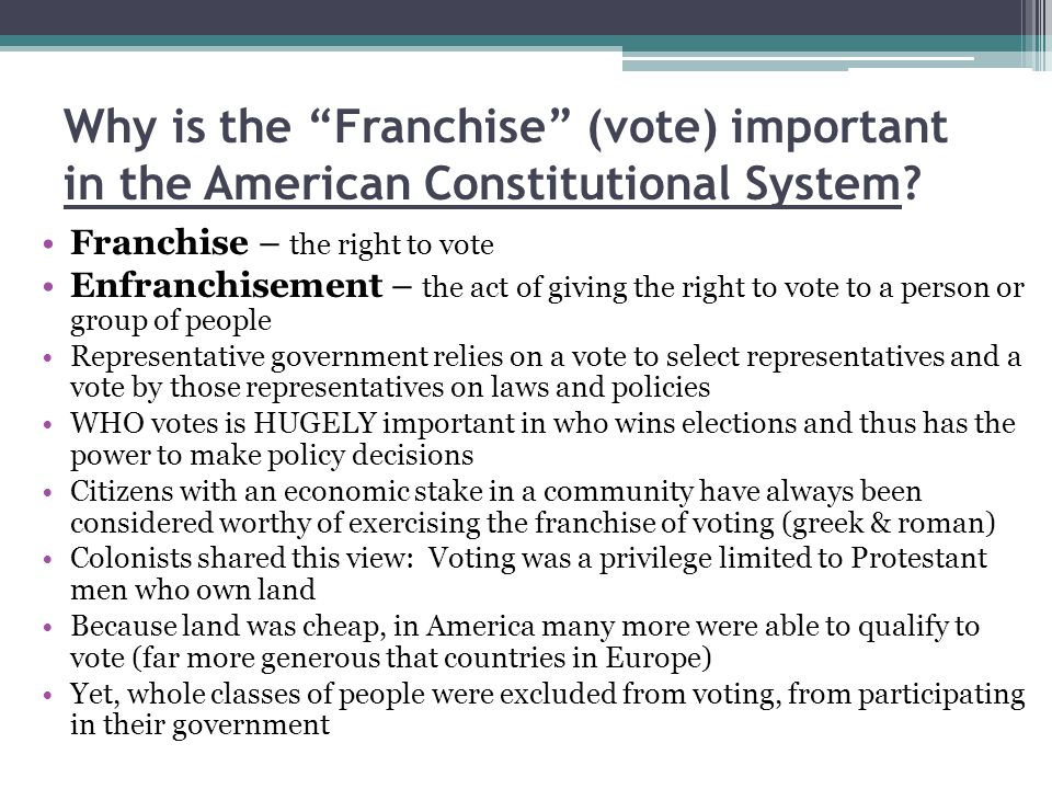 Why is the Franchise (vote) important in the American Constitutional System.