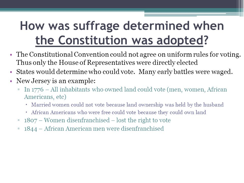 How was suffrage determined when the Constitution was adopted.