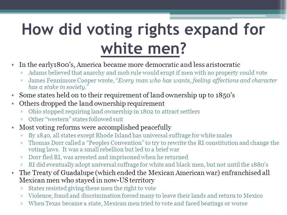 How did voting rights expand for white men.