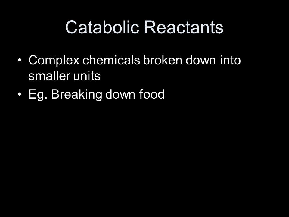 Catabolic Reactants Complex chemicals broken down into smaller units Eg. Breaking down food