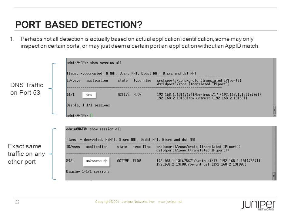 22 Copyright © 2011 Juniper Networks, Inc. www.juniper.net PORT BASED DETECTION.