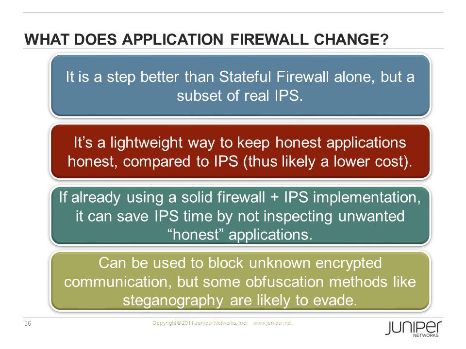 36 Copyright © 2011 Juniper Networks, Inc. www.juniper.net WHAT DOES APPLICATION FIREWALL CHANGE.