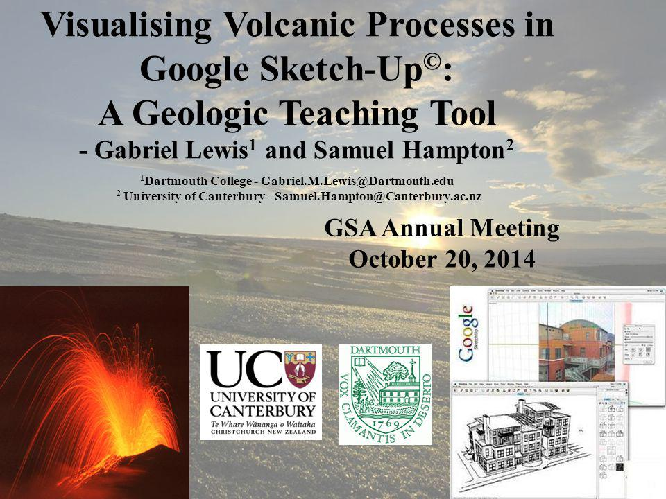 Visualizing Volcanic Processes – GSA Annual Talk Gabriel Lewis – October 20, 2014 Making The Model Easily load Google DEM and satellite imagery Draw dike and joint planes Trace extent of lava domes Estimate location of scoria cone Reconstruct flank from DEM
