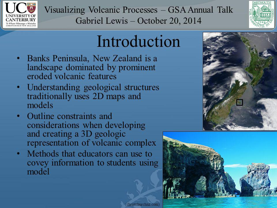 Visualizing Volcanic Processes – GSA Annual Talk Gabriel Lewis – October 20, 2014 Using The Model One can – Zoom, pan, and rotate model – Measure distances and angles – View solid or wireframe textures to see through layers – Walk along the DEM surface – Turn layers on and off Allows interactive visualization of underground and eroded structures