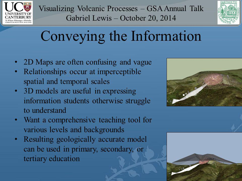 Visualizing Volcanic Processes – GSA Annual Talk Gabriel Lewis – October 20, 2014 Conveying the Information 2D Maps are often confusing and vague Relationships occur at imperceptible spatial and temporal scales 3D models are useful in expressing information students otherwise struggle to understand Want a comprehensive teaching tool for various levels and backgrounds Resulting geologically accurate model can be used in primary, secondary, or tertiary education