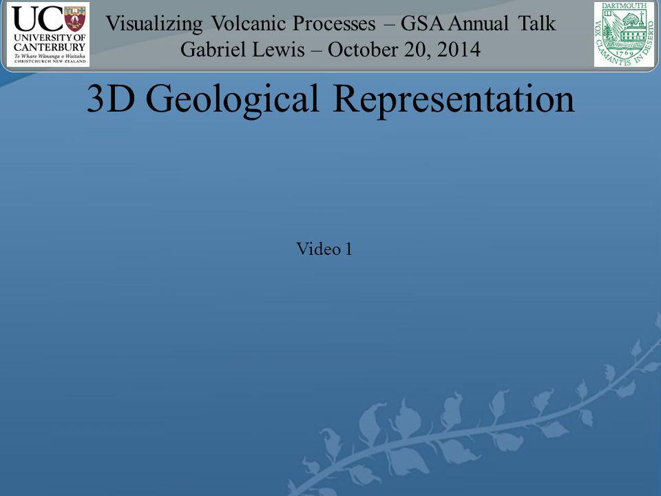 Visualizing Volcanic Processes – GSA Annual Talk Gabriel Lewis – October 20, 2014 2D Structural Representation