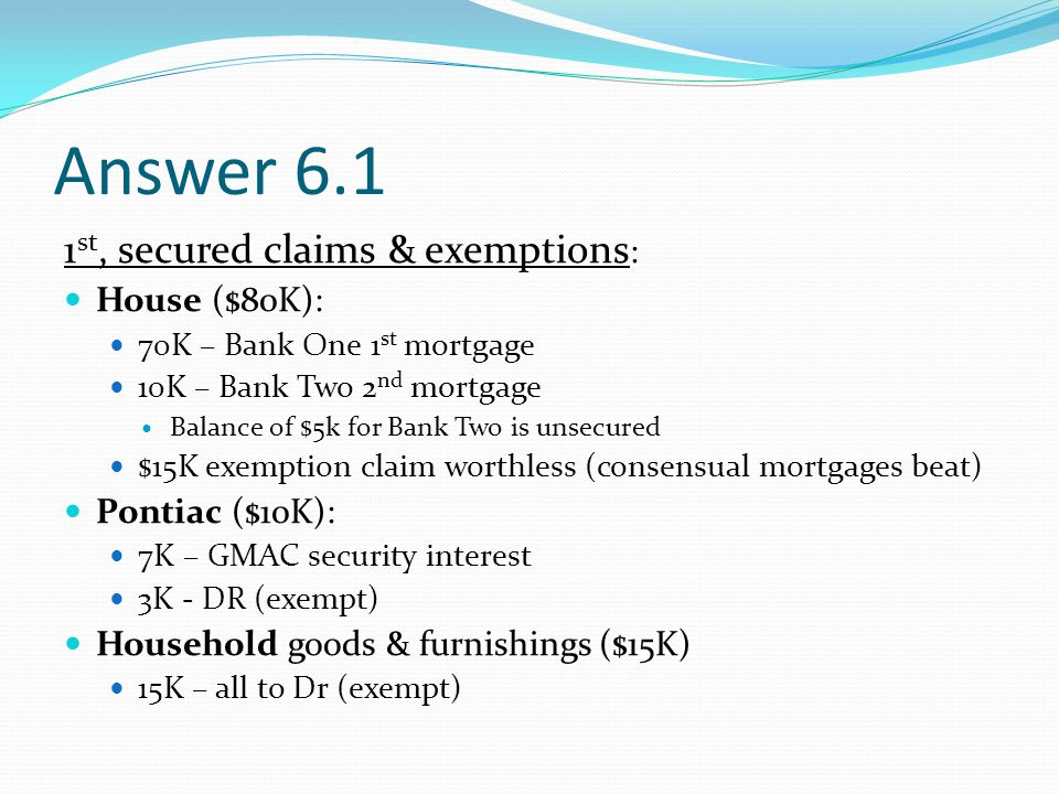 Answer 6.1 1 st, secured claims & exemptions : House ($80K): 70K – Bank One 1 st mortgage 10K – Bank Two 2 nd mortgage Balance of $5k for Bank Two is unsecured $15K exemption claim worthless (consensual mortgages beat) Pontiac ($10K): 7K – GMAC security interest 3K - DR (exempt) Household goods & furnishings ($15K) 15K – all to Dr (exempt)