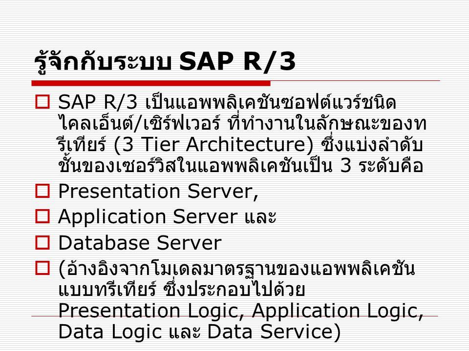 รู้จักกับระบบ SAP R/3  SAP R/3 เป็นแอพพลิเคชันซอฟต์แวร์ชนิด ไคลเอ็นต์ / เซิร์ฟเวอร์ ที่ทำงานในลักษณะของท รีเทียร์ (3 Tier Architecture) ซึ่งแบ่งลำดับ ชั้นของเซอร์วิสในแอพพลิเคชันเป็น 3 ระดับคือ  Presentation Server,  Application Server และ  Database Server  ( อ้างอิงจากโมเดลมาตรฐานของแอพพลิเคชัน แบบทรีเทียร์ ซึ่งประกอบไปด้วย Presentation Logic, Application Logic, Data Logic และ Data Service)