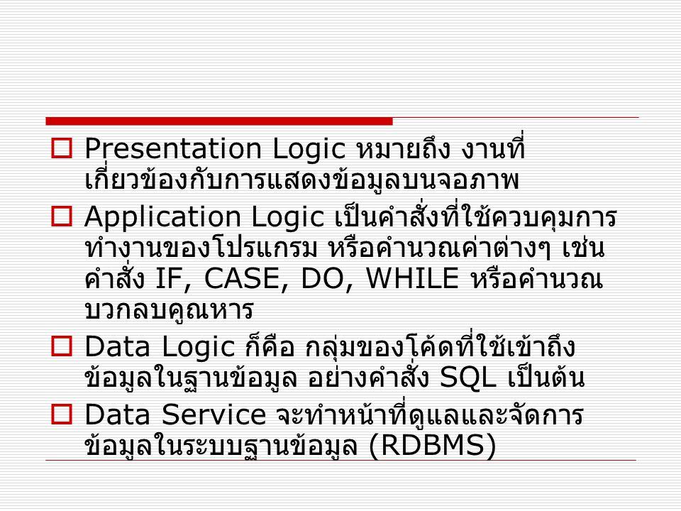  Presentation Logic หมายถึง งานที่ เกี่ยวข้องกับการแสดงข้อมูลบนจอภาพ  Application Logic เป็นคำสั่งที่ใช้ควบคุมการ ทำงานของโปรแกรม หรือคำนวณค่าต่างๆ เช่น คำสั่ง IF, CASE, DO, WHILE หรือคำนวณ บวกลบคูณหาร  Data Logic ก็คือ กลุ่มของโค้ดที่ใช้เข้าถึง ข้อมูลในฐานข้อมูล อย่างคำสั่ง SQL เป็นต้น  Data Service จะทำหน้าที่ดูแลและจัดการ ข้อมูลในระบบฐานข้อมูล (RDBMS)
