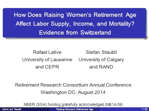 How Does Raising Women's Retirement Age Affect Labor Supply, Income, and Mortality.