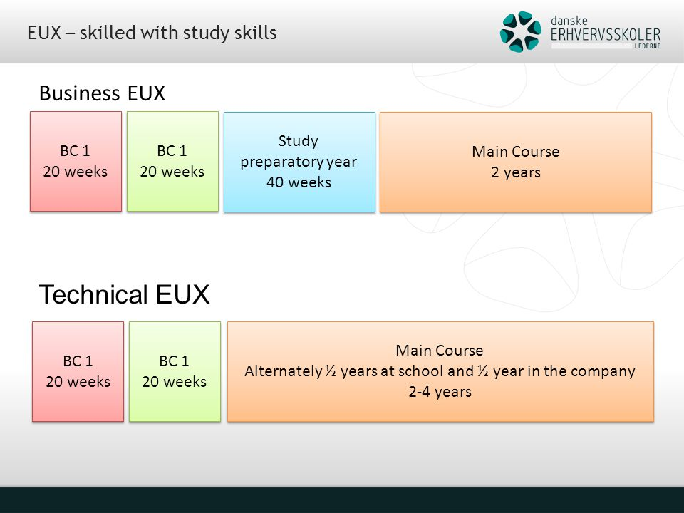 EUX – skilled with study skills Business EUX Technical EUX z BC 1 20 weeks BC 1 20 weeks BC 1 20 weeks BC 1 20 weeks Study preparatory year 40 weeks Study preparatory year 40 weeks Main Course 2 years Main Course 2 years BC 1 20 weeks BC 1 20 weeks BC 1 20 weeks BC 1 20 weeks Main Course Alternately ½ years at school and ½ year in the company 2-4 years Main Course Alternately ½ years at school and ½ year in the company 2-4 years