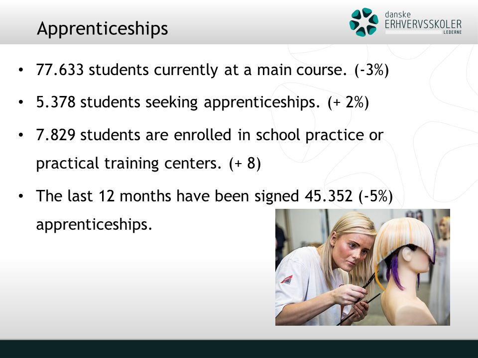 Apprenticeships 77.633 students currently at a main course.