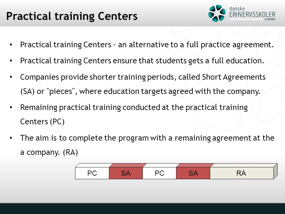 PC Practical training Centers Practical training Centers - an alternative to a full practice agreement.