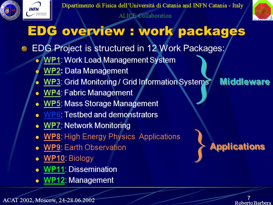 7 EDG overview : work packages EDG Project is structured in 12 Work Packages: WP1: Work Load Management System WP2: Data Management WP3: Grid Monitoring / Grid Information Systems WP4: Fabric Management WP5: Mass Storage Management WP6: Testbed and demonstrators WP7: Network Monitoring WP8: High Energy Physics Applications WP9: Earth Observation WP10: Biology WP11: Dissemination WP12: Management Dipartimento di Fisica dell'Università di Catania and INFN Catania - Italy ALICE Collaboration } } Middleware } } Applications Roberto Barbera ACAT 2002, Moscow, 24-28.06.2002