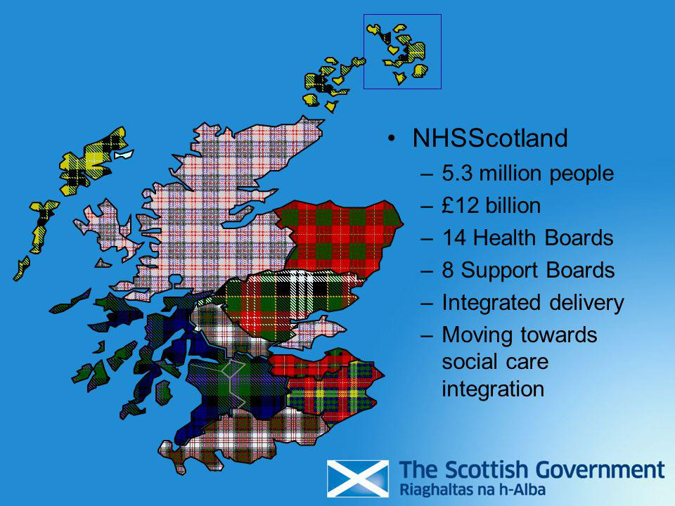 NHSScotland –5.3 million people –£12 billion –14 Health Boards –8 Support Boards –Integrated delivery –Moving towards social care integration