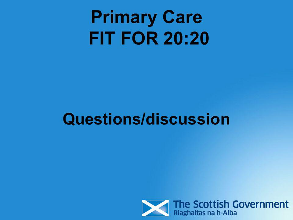 Primary Care FIT FOR 20:20 Questions/discussion