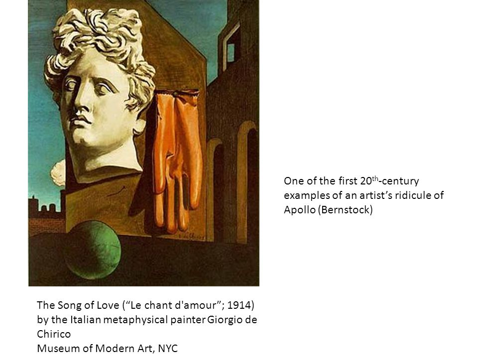 """The Song of Love (""""Le chant d'amour""""; 1914) by the Italian metaphysical painter Giorgio de Chirico Museum of Modern Art, NYC One of the first 20 th -c"""