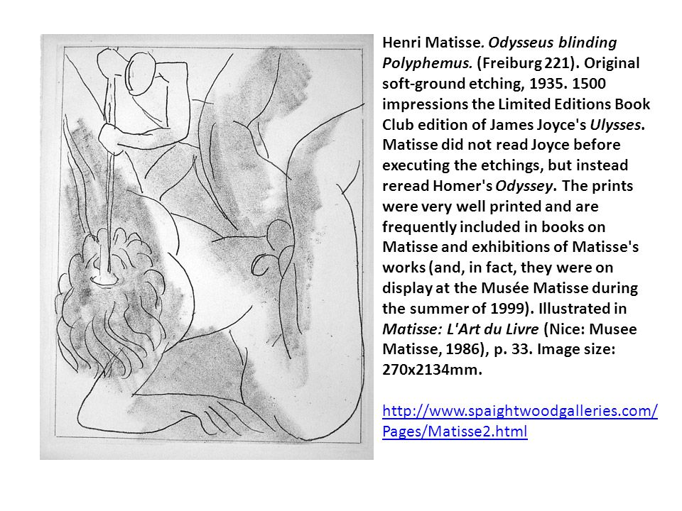 Henri Matisse. Odysseus blinding Polyphemus. (Freiburg 221). Original soft-ground etching, 1935. 1500 impressions the Limited Editions Book Club editi
