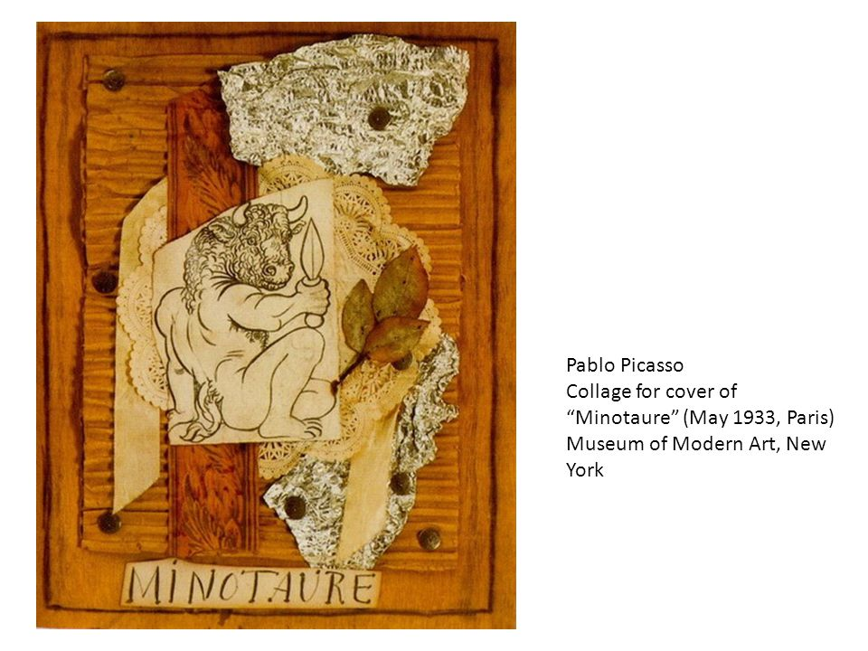 """Pablo Picasso Collage for cover of """"Minotaure"""" (May 1933, Paris) Museum of Modern Art, New York"""