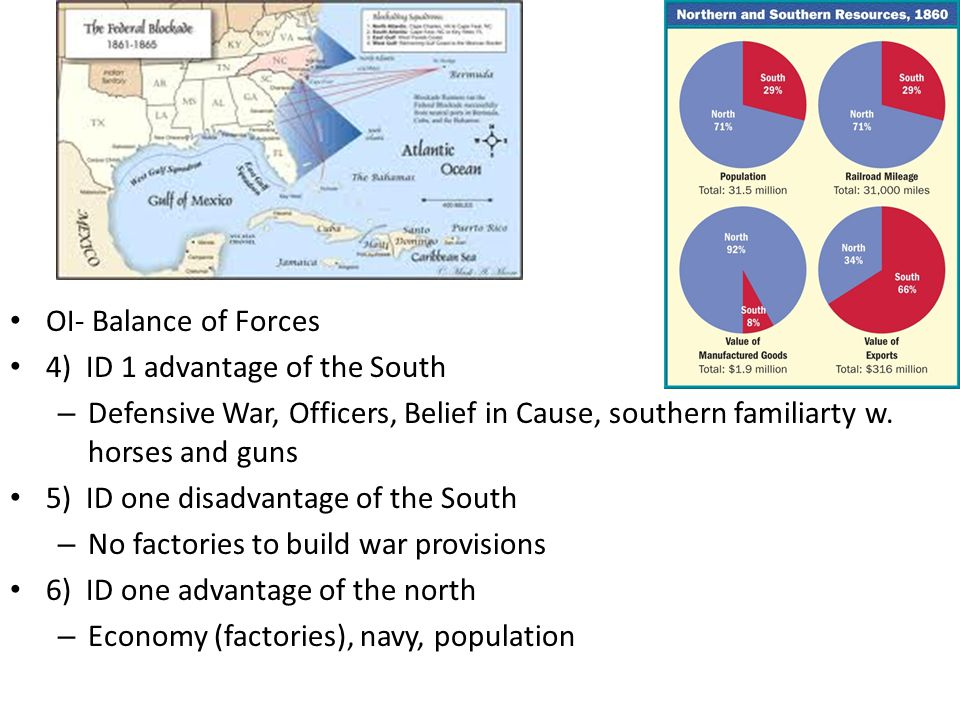 OI- Balance of Forces 4) ID 1 advantage of the South – Defensive War, Officers, Belief in Cause, southern familiarty w. horses and guns 5) ID one disa