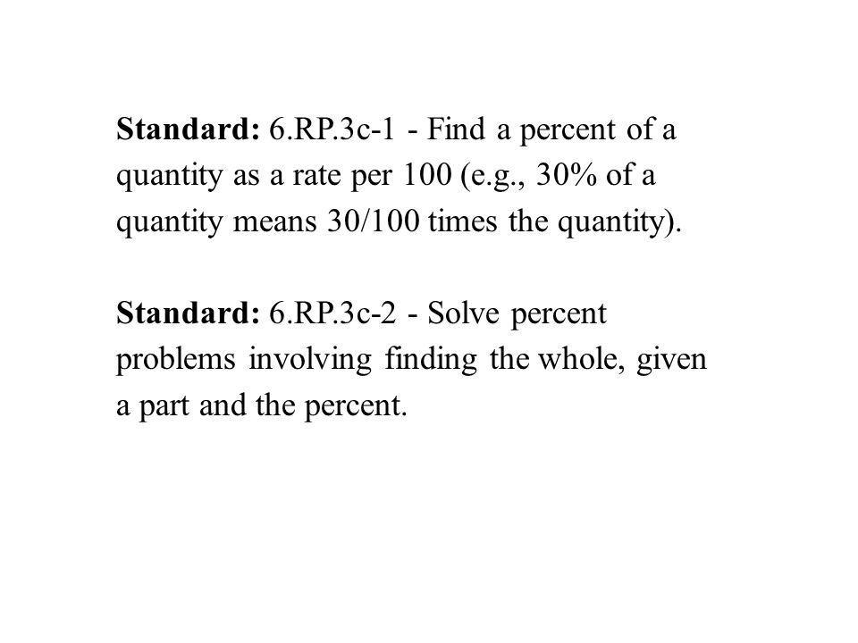 Standard: 6.RP.3c-1 - Find a percent of a quantity as a rate per 100 (e.g., 30% of a quantity means 30/100 times the quantity). Standard: 6.RP.3c-2 -