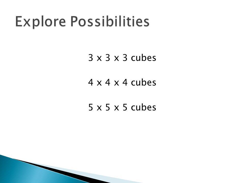 3 x 3 x 3 cubes 4 x 4 x 4 cubes 5 x 5 x 5 cubes