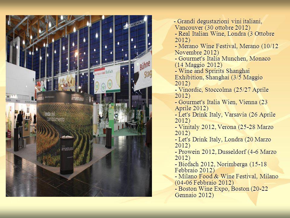 - Grandi degustazioni vini italiani, Vancouver (30 ottobre 2012) - Real Italian Wine, Londra (3 Ottobre 2012) - Merano Wine Festival, Merano (10/12 Novembre 2012) - Gourmet s Italia Munchen, Monaco (14 Maggio 2012) - Wine and Spririts Shanghai Exhibition, Shanghai (3/5 Maggio 2012) - Vinordic, Stoccolma (25/27 Aprile 2012) - Gourmet s Italia Wien, Vienna (23 Aprile 2012) - Let s Drink Italy, Varsavia (26 Aprile 2012) - Vinitaly 2012, Verona (25-28 Marzo 2012) - Let s Drink Italy, Londra (20 Marzo 2012) - Prowein 2012, Dusseldorf (4-6 Marzo 2012) - Biofach 2012, Norimberga (15-18 Febbraio 2012) - Milano Food & Wine Festival, Milano (04-06 Febbraio 2012) - Boston Wine Expo, Boston (20-22 Gennaio 2012) - Grandi degustazioni vini italiani, Vancouver (30 ottobre 2012) - Real Italian Wine, Londra (3 Ottobre 2012) - Merano Wine Festival, Merano (10/12 Novembre 2012) - Gourmet s Italia Munchen, Monaco (14 Maggio 2012) - Wine and Spririts Shanghai Exhibition, Shanghai (3/5 Maggio 2012) - Vinordic, Stoccolma (25/27 Aprile 2012) - Gourmet s Italia Wien, Vienna (23 Aprile 2012) - Let s Drink Italy, Varsavia (26 Aprile 2012) - Vinitaly 2012, Verona (25-28 Marzo 2012) - Let s Drink Italy, Londra (20 Marzo 2012) - Prowein 2012, Dusseldorf (4-6 Marzo 2012) - Biofach 2012, Norimberga (15-18 Febbraio 2012) - Milano Food & Wine Festival, Milano (04-06 Febbraio 2012) - Boston Wine Expo, Boston (20-22 Gennaio 2012)