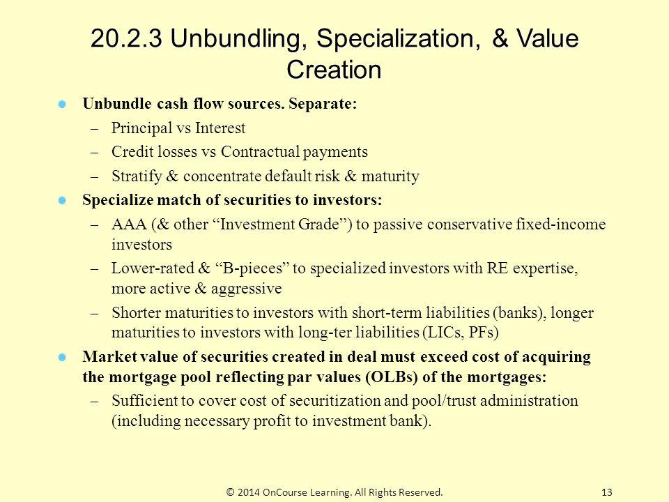 20.2.3 Unbundling, Specialization, & Value Creation Unbundle cash flow sources. Separate: – Principal vs Interest – Credit losses vs Contractual payme