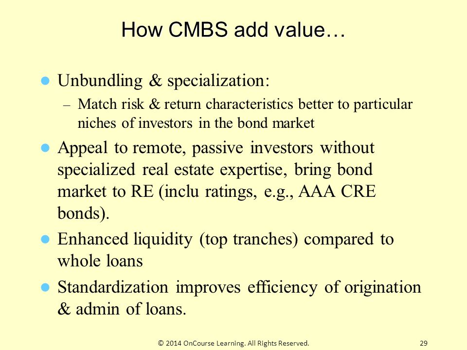 How CMBS add value… Unbundling & specialization: – Match risk & return characteristics better to particular niches of investors in the bond market App