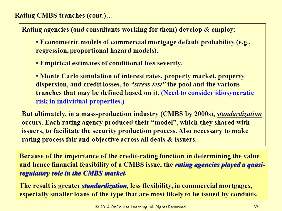 © 2014 OnCourse Learning. All Rights Reserved.33 Rating CMBS tranches (cont.)… Rating agencies (and consultants working for them) develop & employ: Ec