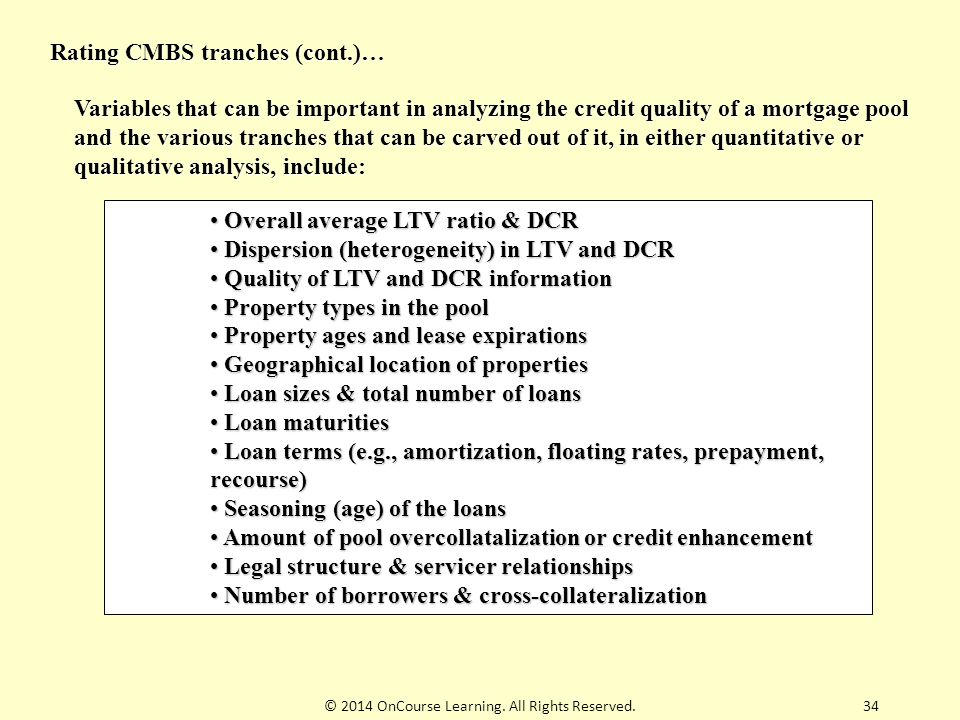 © 2014 OnCourse Learning. All Rights Reserved.34 Rating CMBS tranches (cont.)… Overall average LTV ratio & DCR Overall average LTV ratio & DCR Dispers