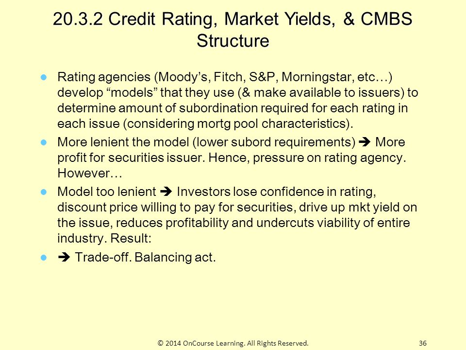 """20.3.2 Credit Rating, Market Yields, & CMBS Structure Rating agencies (Moody's, Fitch, S&P, Morningstar, etc…) develop """"models"""" that they use (& make"""