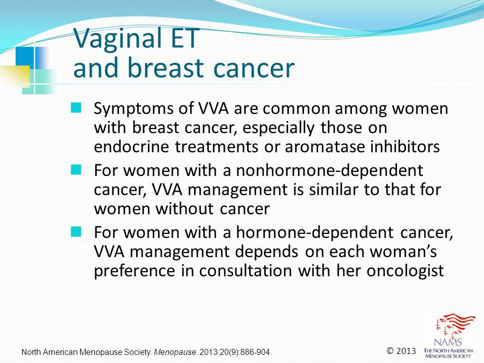 Symptoms of VVA are common among women with breast cancer, especially those on endocrine treatments or aromatase inhibitors For women with a nonhormon