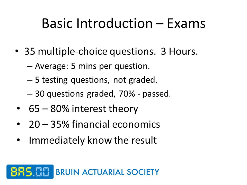 Basic Introduction – Exams 35 multiple-choice questions.