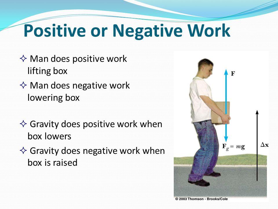 Positive or Negative Work  Man does positive work lifting box  Man does negative work lowering box  Gravity does positive work when box lowers  Gr