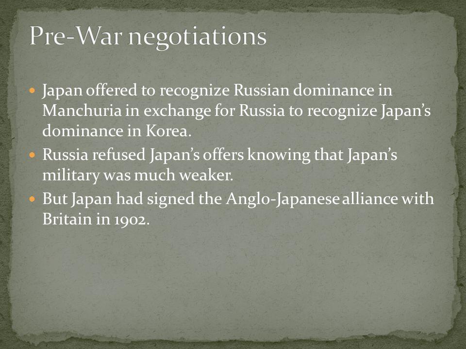 ITEMSJAPANRUSSIA Manchuria2510 Korea3010 Sakhalin Island12.57.5 War Costs2040 Pacific Fleet520 TOTAL67.5