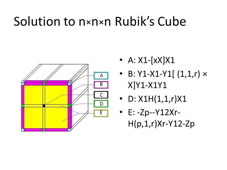Solution to n × n × n Rubik's Cube A: X1-[xX]X1 B: Y1-X1-Y1[ (1,1,r) × X]Y1-X1Y1 D: X1H(1,1,r)X1 E: -Zp--Y12Xr- H(p,1,r)Xr-Y12-Zp A B C D E