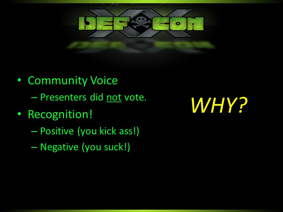 Community Voice – Presenters did not vote. Recognition.