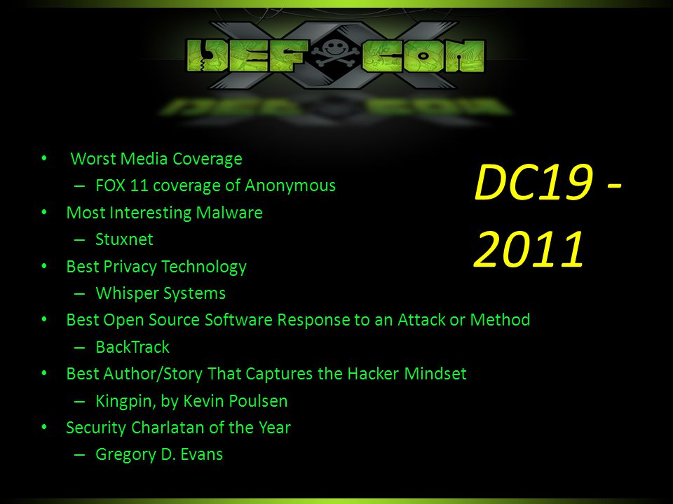 PRISM – (announced since DC20!) Ciphercloud – Bogus security claims – Abusing DMCA as defense Gmail – (no reason given) WifiSugar – Proof is in the website Worst Privacy Enhancing Technology Since DEF CON 20 (Image not meant to be influencing)