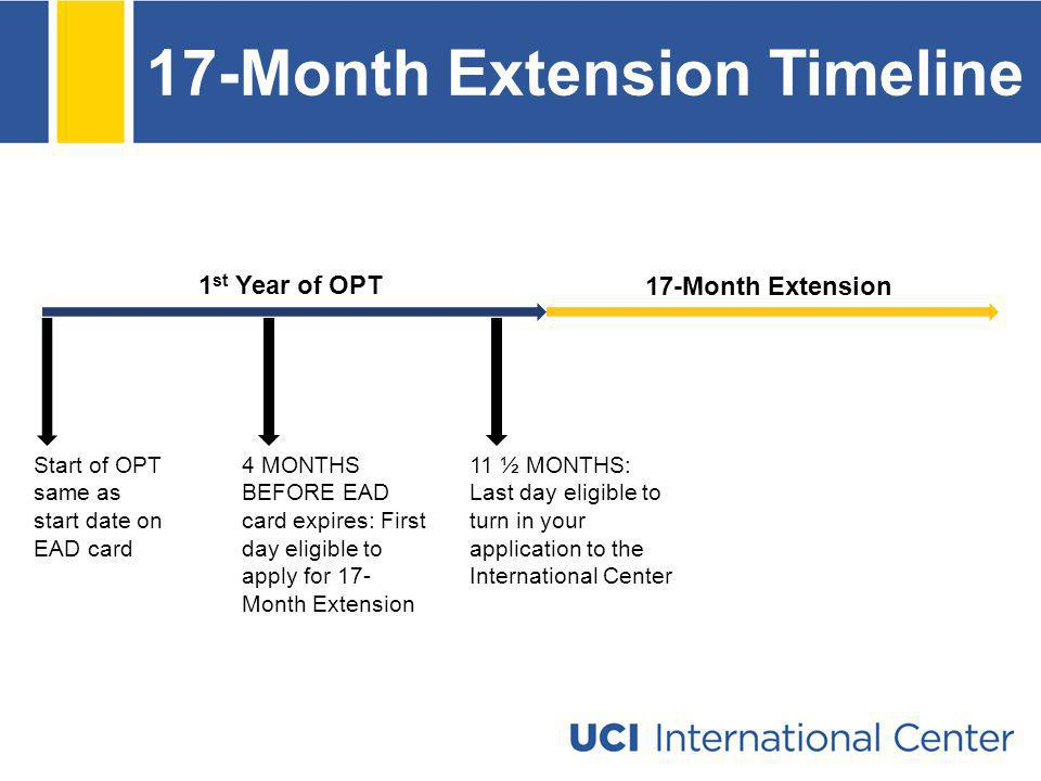 17-Month Extension Timeline Start of OPT same as start date on EAD card 4 MONTHS BEFORE EAD card expires: First day eligible to apply for 17- Month Ex