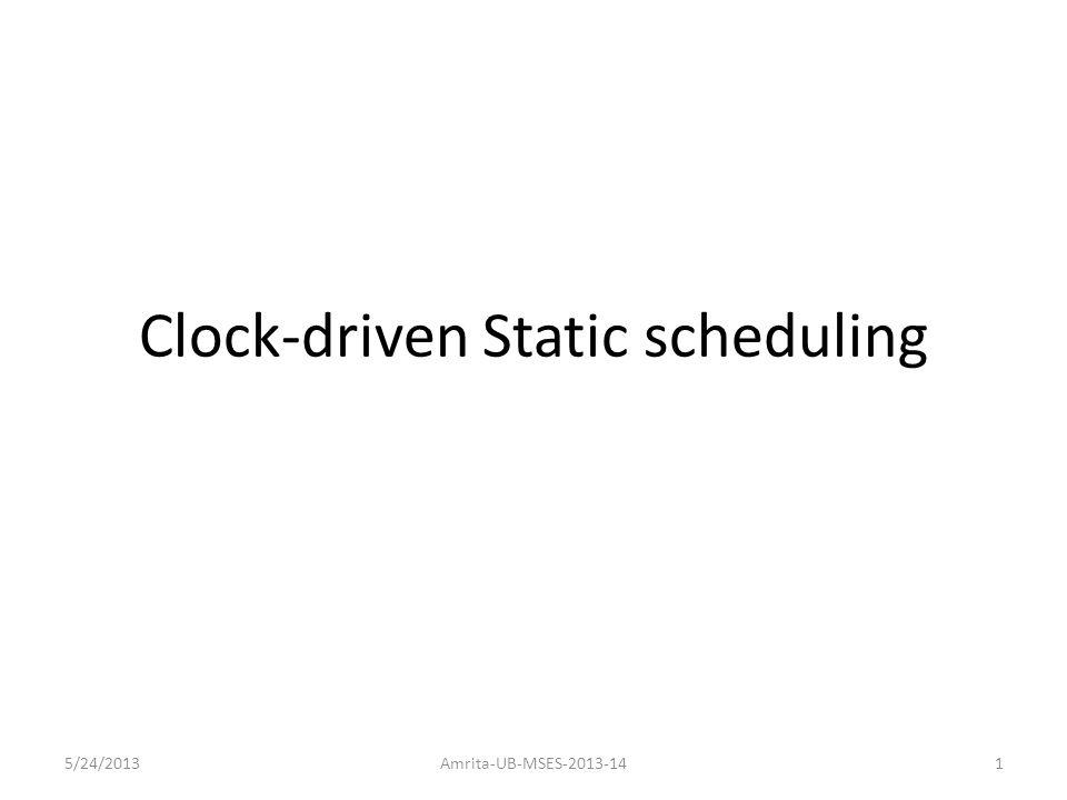Clock-driven Static scheduling 5/24/2013Amrita-UB-MSES-2013-141