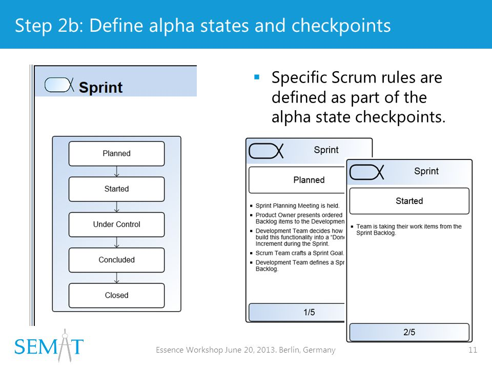 Step 2b: Define alpha states and checkpoints  Specific Scrum rules are defined as part of the alpha state checkpoints.