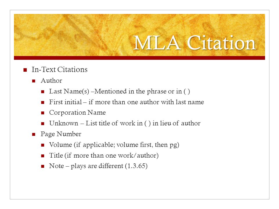 MLA Citation List of Works Cited Books – author's last name, first name.