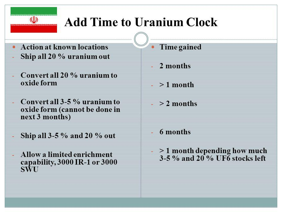 Add Time to Uranium Clock Action at known locations - Ship all 20 % uranium out - Convert all 20 % uranium to oxide form - Convert all 3-5 % uranium to oxide form (cannot be done in next 3 months) - Ship all 3-5 % and 20 % out - Allow a limited enrichment capability, 3000 IR-1 or 3000 SWU Time gained - 2 months - > 1 month - > 2 months - 6 months - > 1 month depending how much 3-5 % and 20 % UF6 stocks left
